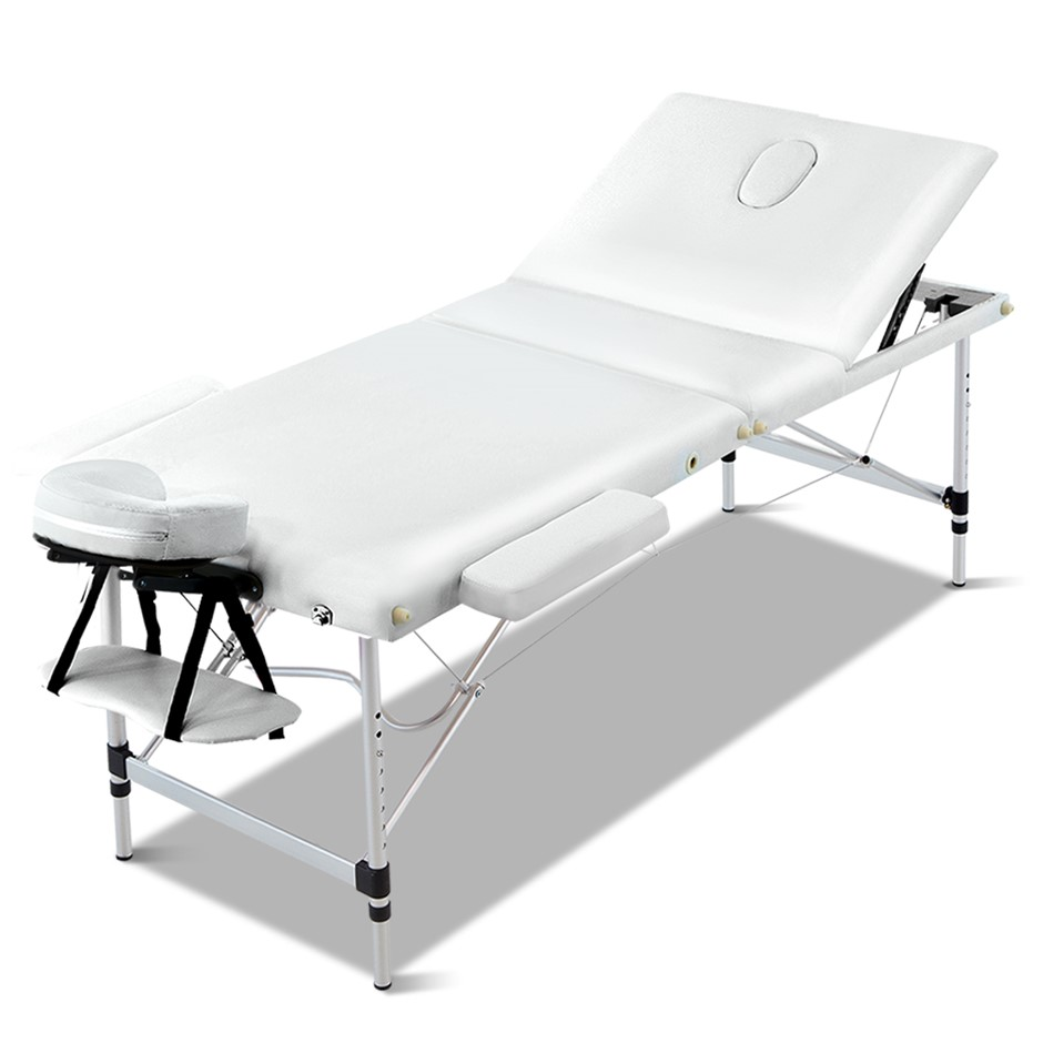 Zenses Massage Table Portable Aluminium 3 Fold Beauty Bed Therapy White