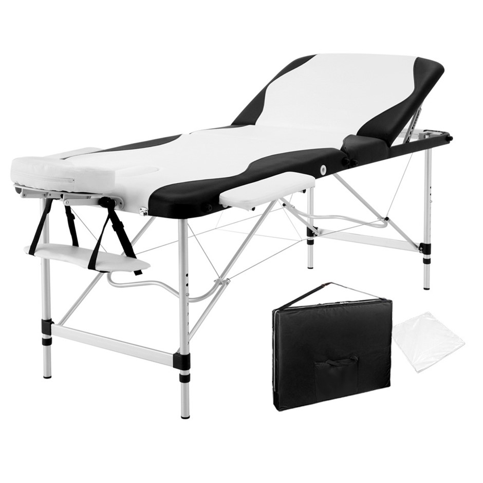 Zenses Massage Table 75CM Portable Aluminium 3 Fold Massage Beds Beauty