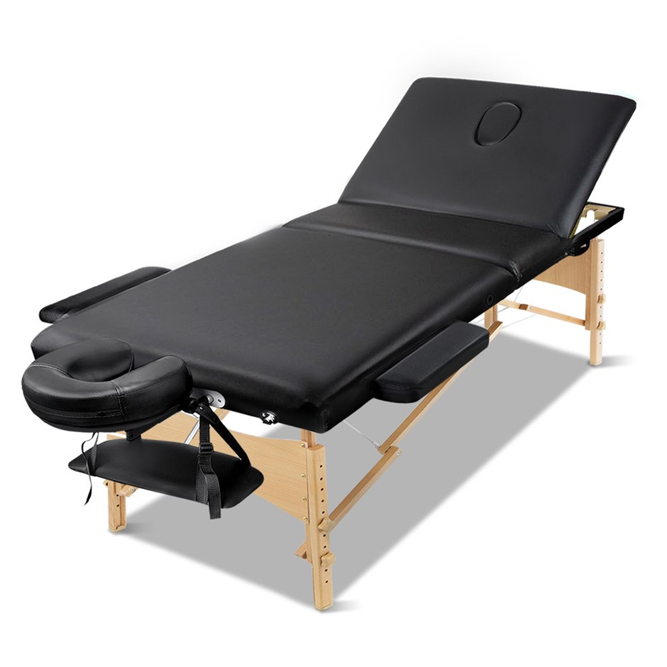 Zenses Massage Table Wooden Portable 3 Fold Beauty Therapy Bed 75CM BLACK