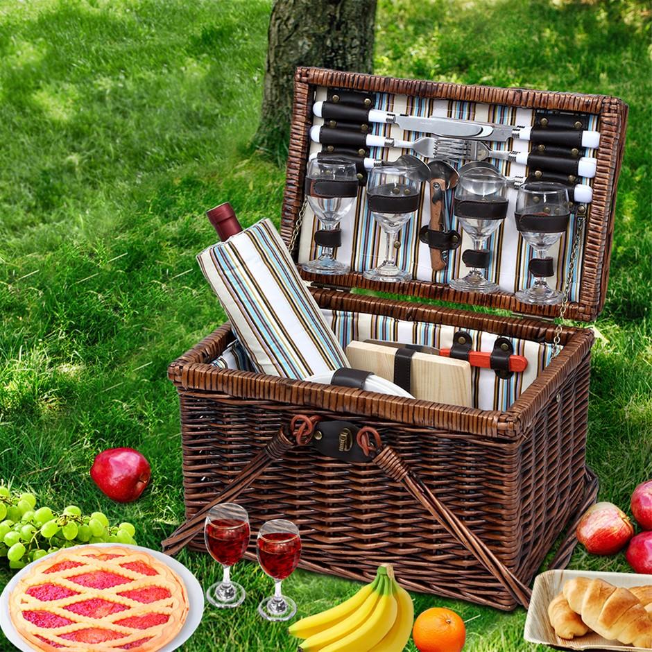 Alfresco Deluxe 4 Person Picnic Basket Set Folding Insulated Liquor bag
