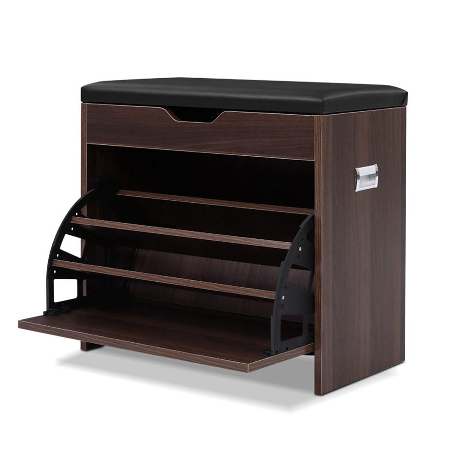 Artiss Shoe Cabinet Bench Organiser Storage Rack Wooden Cupboard 15 Pairs
