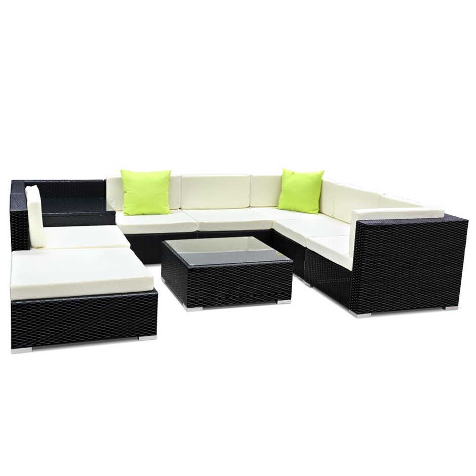 Gardeon 9 Piece Outdoor Furniture Set Wicker Sofa Lounge