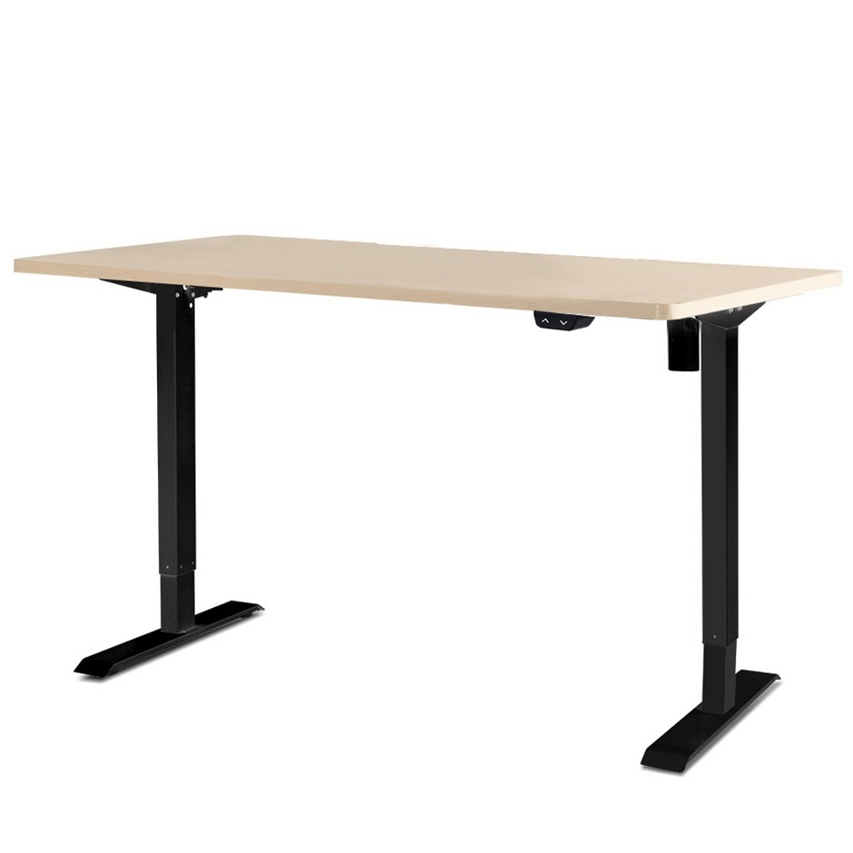 Artiss Motorised Electric Height Adjustable Standing Desk Black White Oak