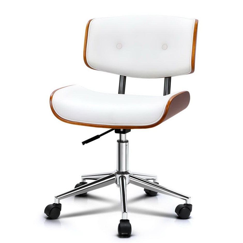 Artiss Executive Wooden Office Chair Leather Computer Seat White