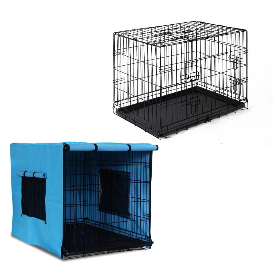 i.Pet 36inch Collapsible Pet Cage - Black & Blue