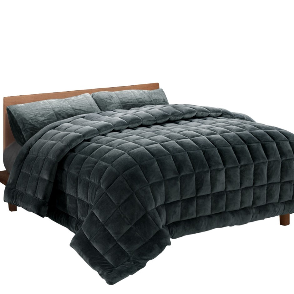 Giselle Bedding Faux Mink Quilt Comforter Throw Blanket Charcoal Queen