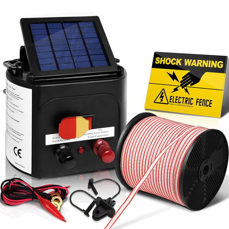 Giantz 5km Solar Electric Fence Energiser Charger 0.15J Farm Poly Tape