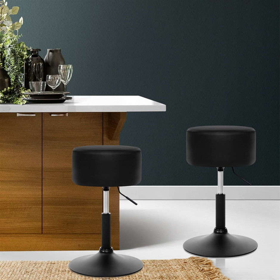 Artiss Kitchen Bar Stools Accent Chairs Gas Lift Stool Swivel Leather Black