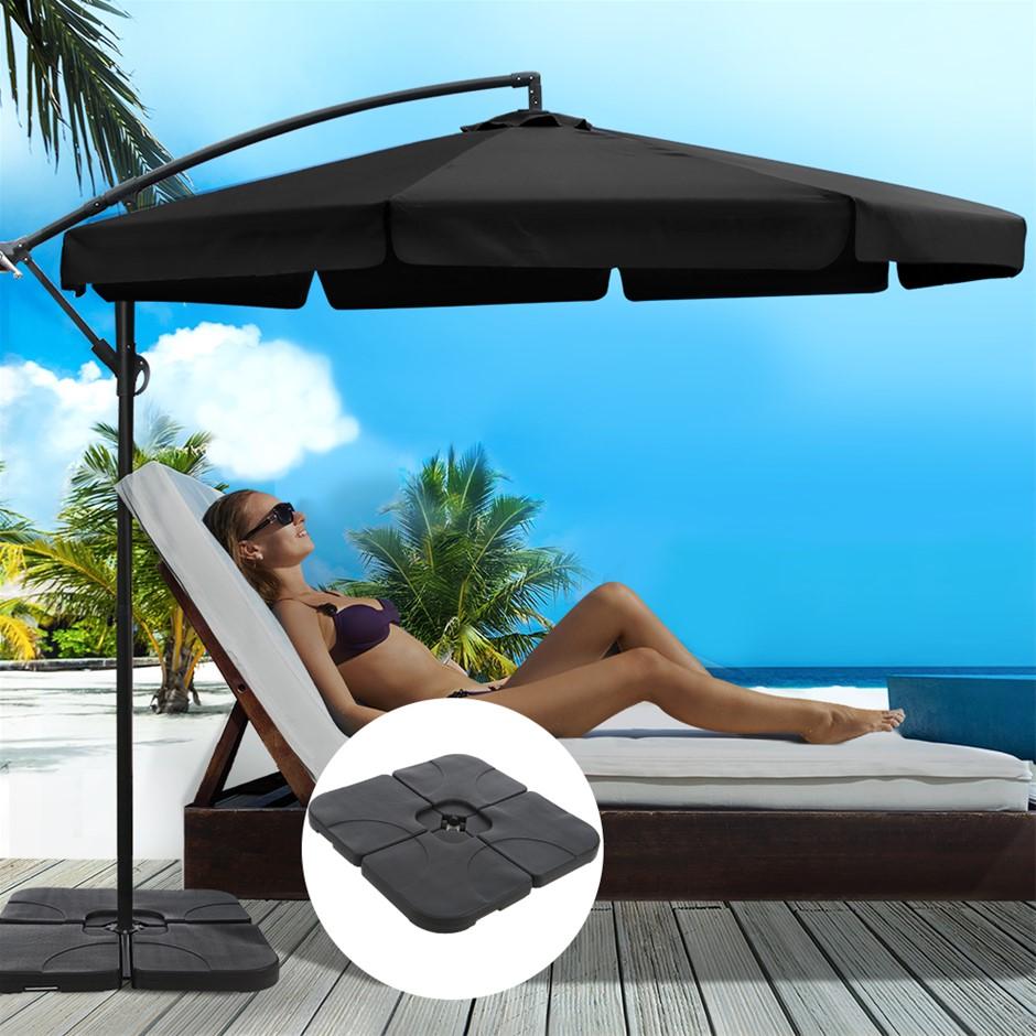 Instahut 3M Umbrella w/ 50x50cm Base Cantilever Patio Sun Beach UV Black