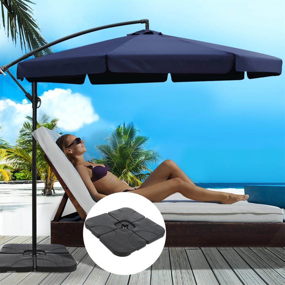 Instahut 3M Umbrella w/ 50x50cm Base Cantilever Patio Sun Beach UV Navy
