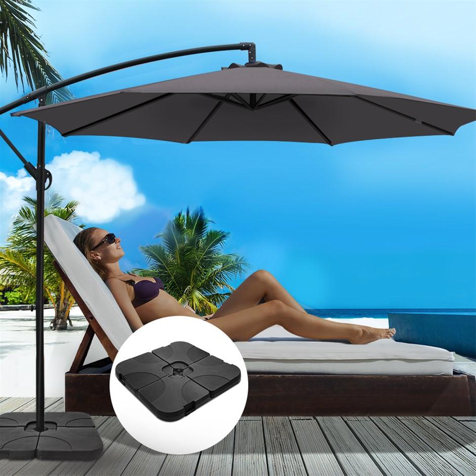 Instahut 3M Umbrella w/50x50cm Base Cantilever Sun Stand UV Garden Charcoal