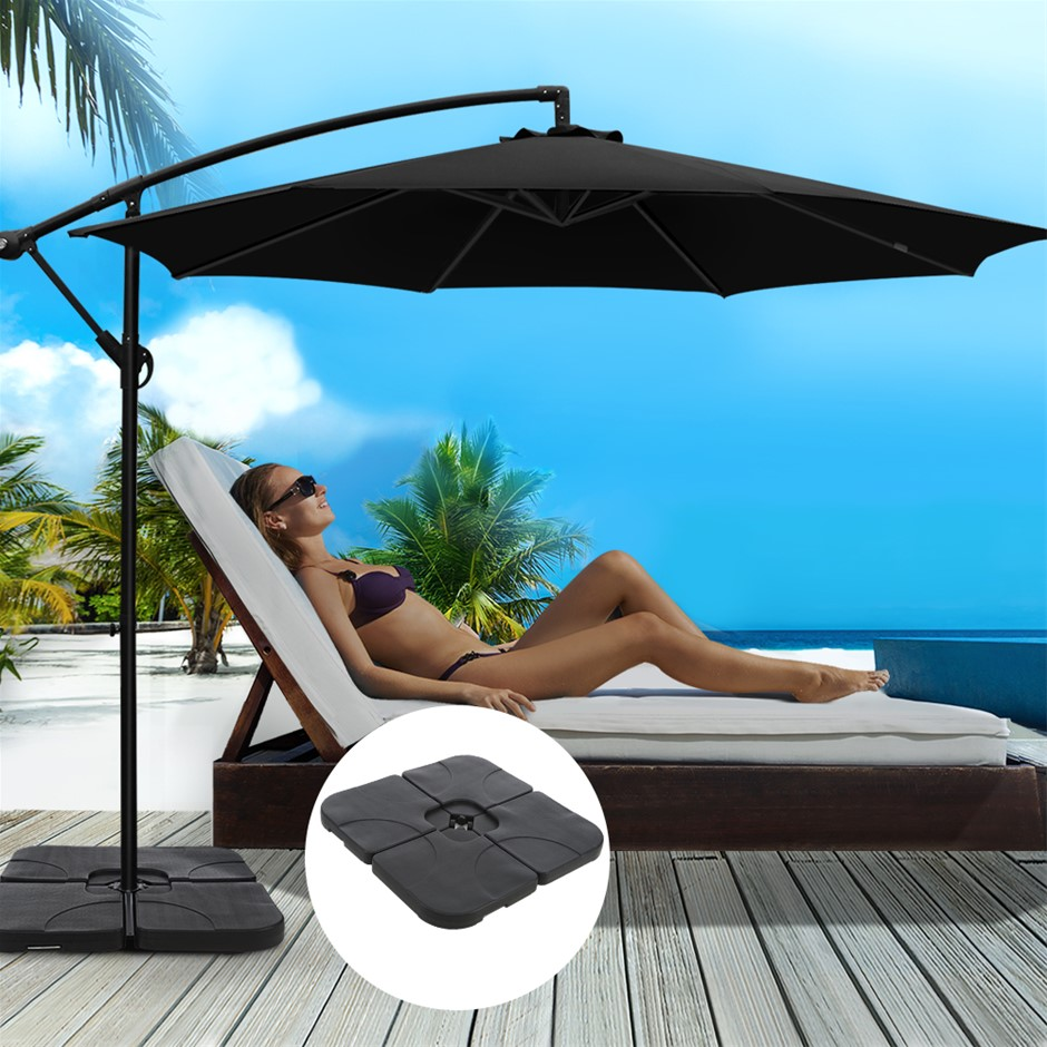 Instahut 3M Umbrella w/50x50cm Base Cantilever Sun Stand UV Garden Black