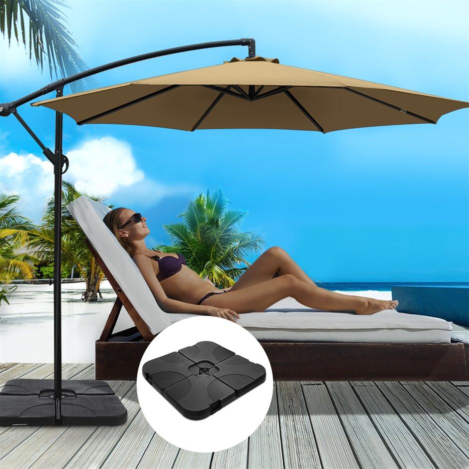 Instahut 3M Umbrella w/50x50cm Base Cantilever Sun Stand UV Garden Beige