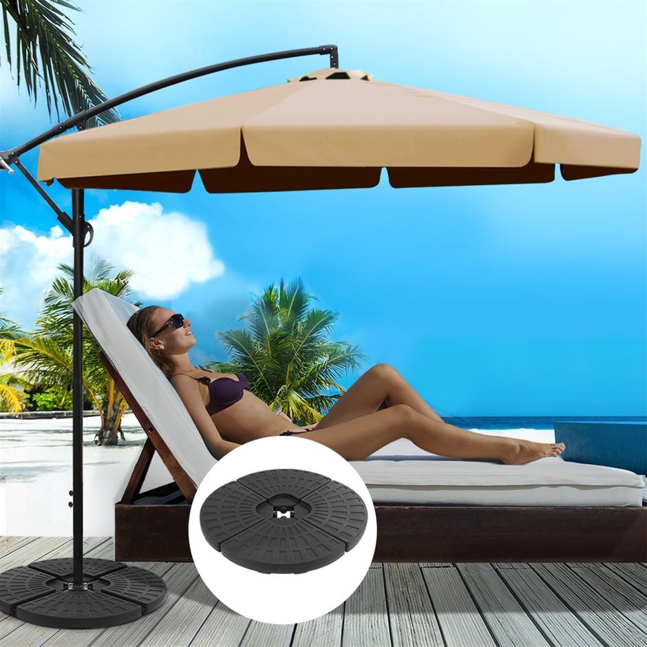 Instahut 3M Umbrella w/48x48cm Base Cantilever Sun Beach UV Beige
