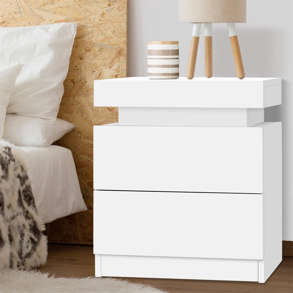 Artiss Bedside Tables 2 Drawers Storage Nightstand Black Bedroom Wood
