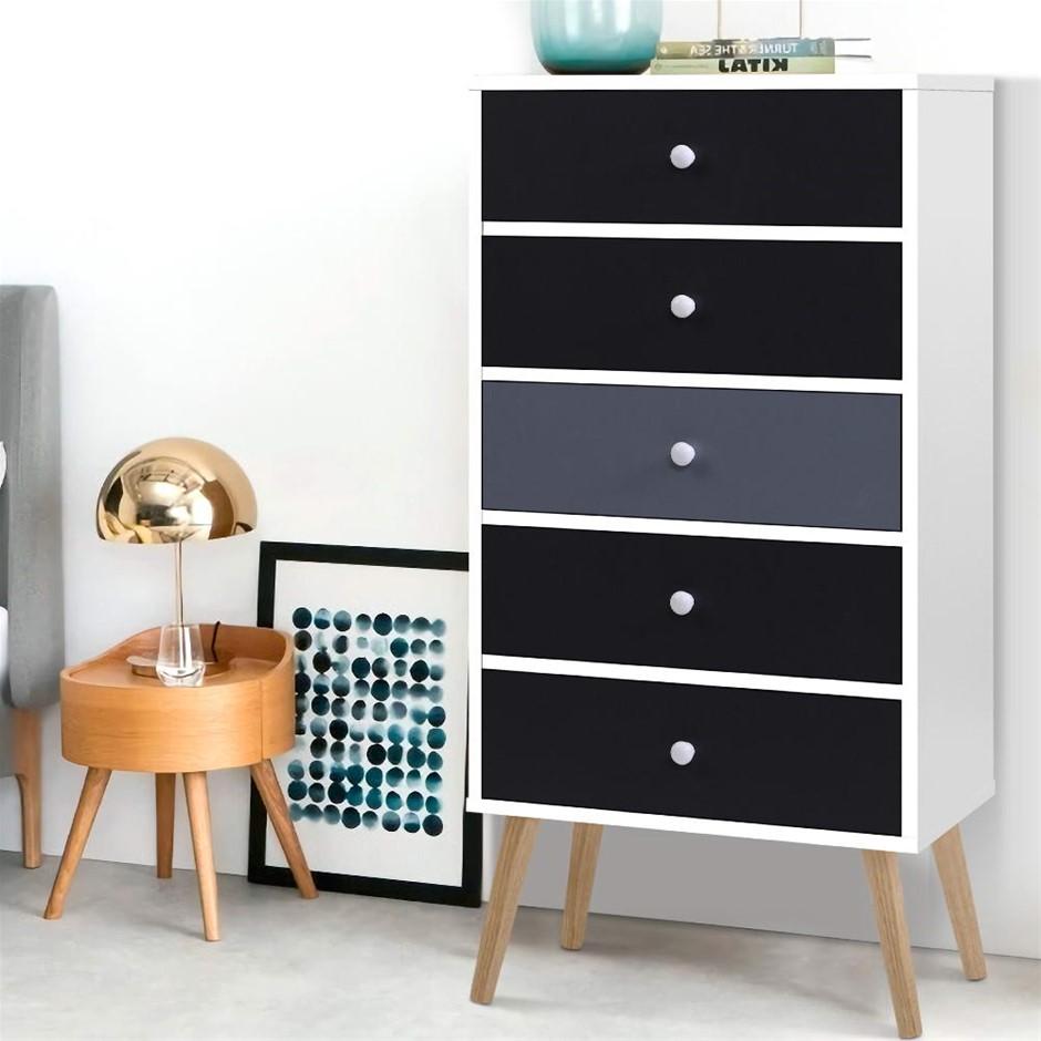 Artiss 5 Chest of Drawers Dresser Table Tallboy Storage Cabinet Black