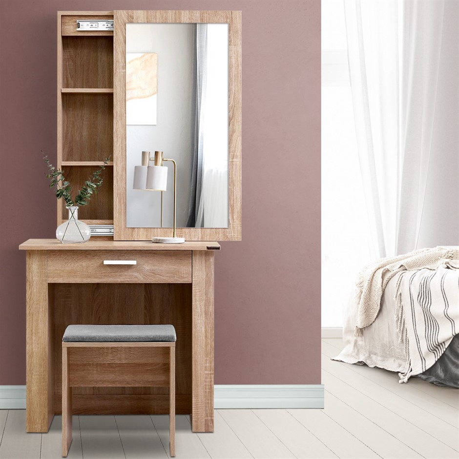 Artiss Dressing Table Mirror Stool Jewellery Cabinet Makeup Storage Wood