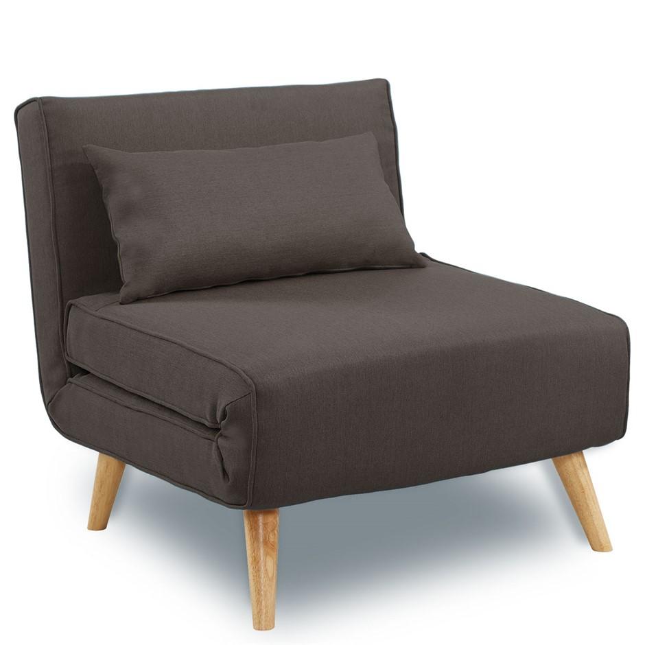 Adjustable Corner Sofa Single Seater Lounge Linen Bed Seat - Brown