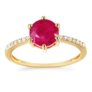 9ct Yellow Gold, 2.16ct Ruby and Diamond
