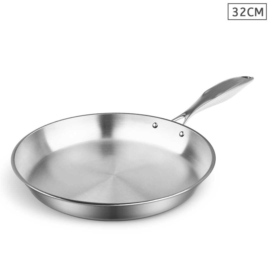 SOGA Stainless Steel Fry Pan 32cm Top Grade Induction Cooking Frypan