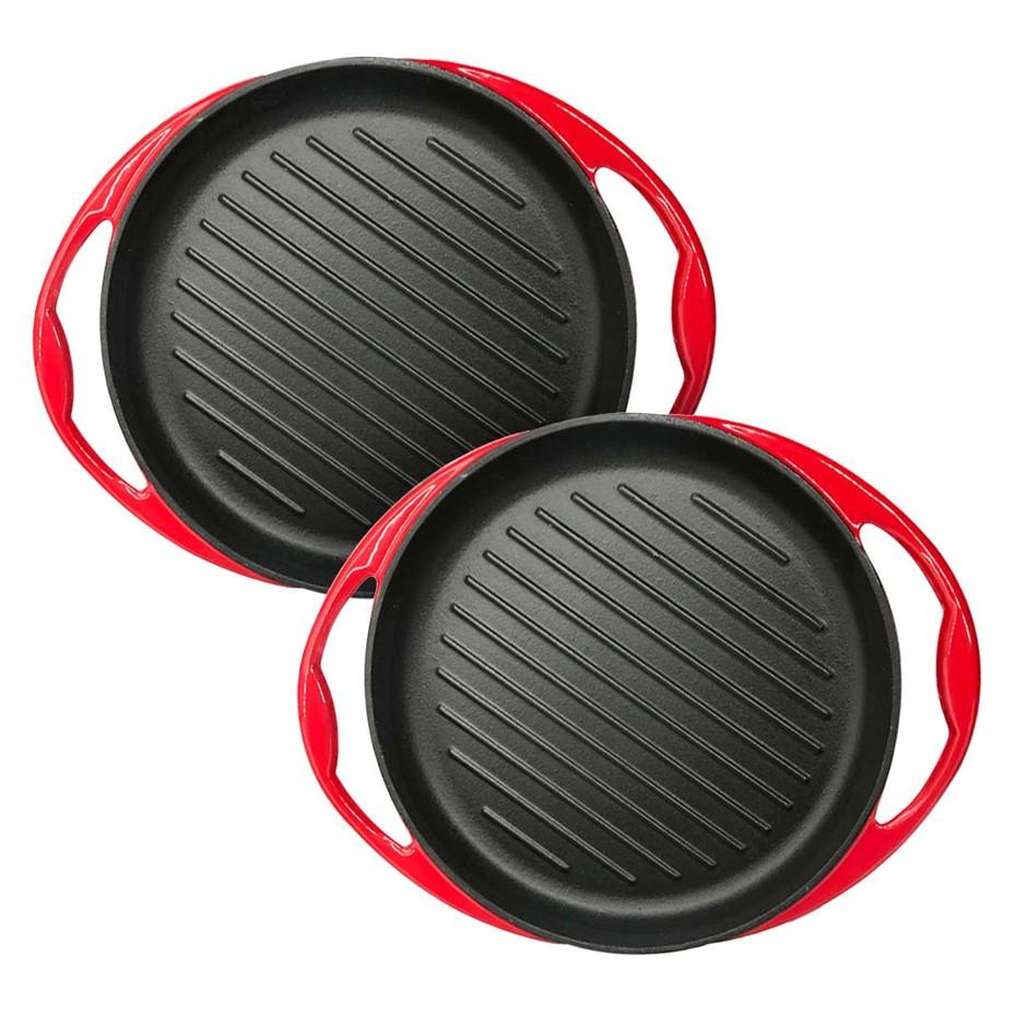 SOGA 2x Enamel Porcelain 26cm Cast Iron Frying Pan Skillet Non-stick