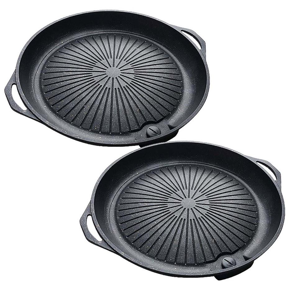 SOGA 2x Portable Korea BBQ Butane Gas Stove Stone Grill Pot Non Stick