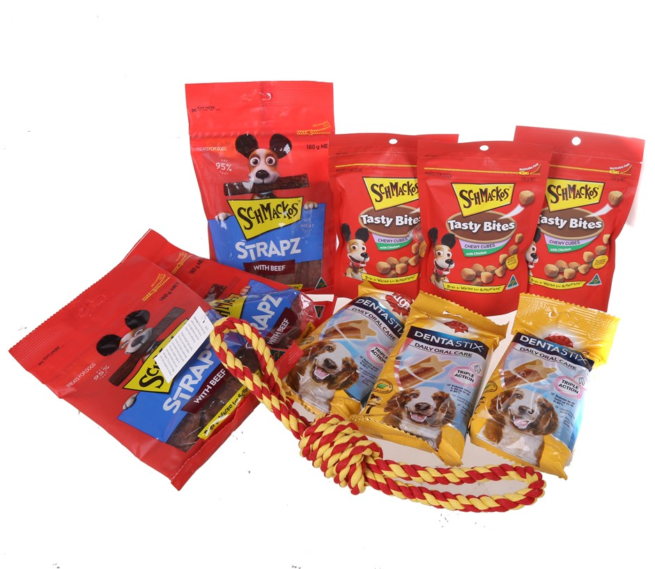 10 x Assorted Dog Products, Comprising: Toys, SCHMACKOS Strapz With Beef Do