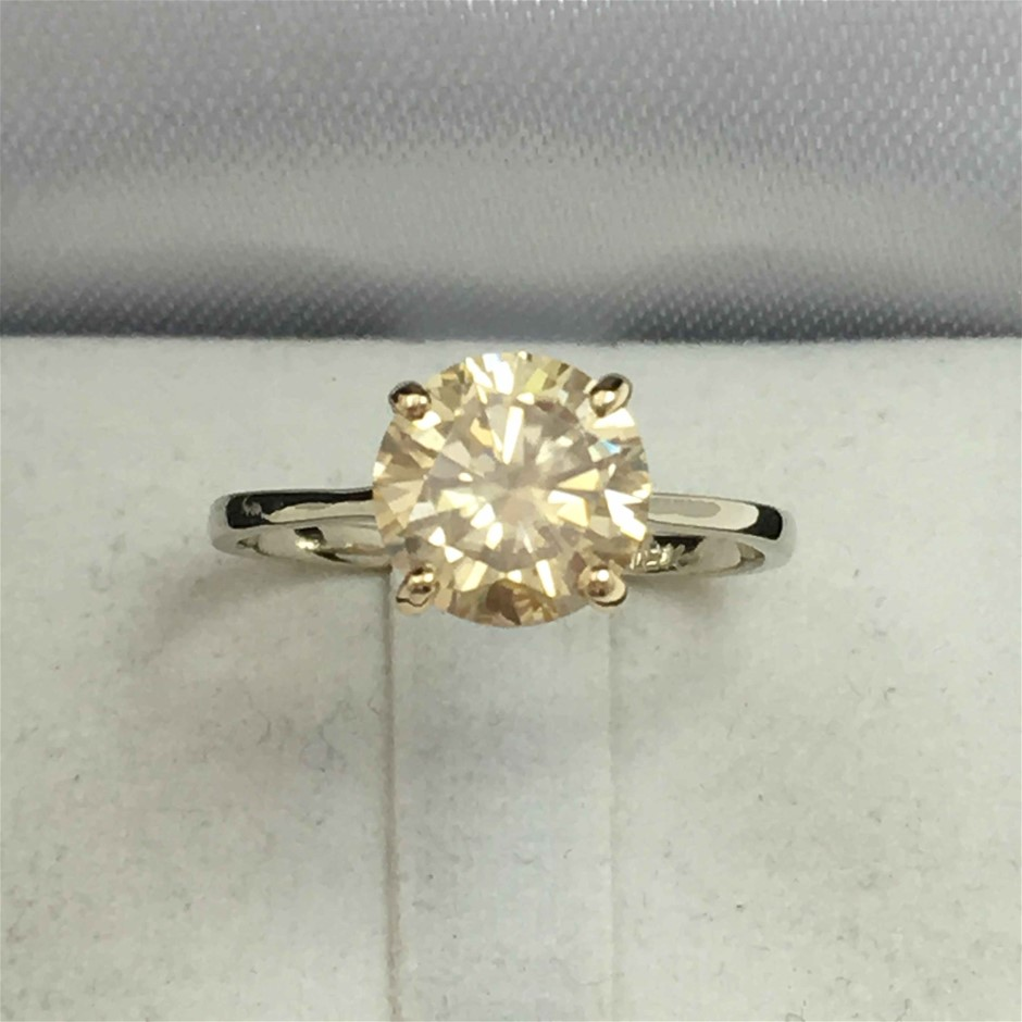 18ct Two-Tone Gold, 1.24ct Moissanite Ring