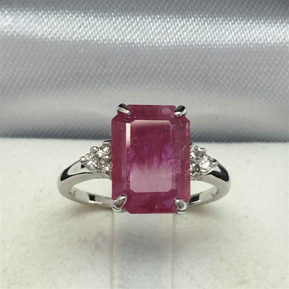 18ct White Gold, 2.98ct Ruby and Diamond Ring
