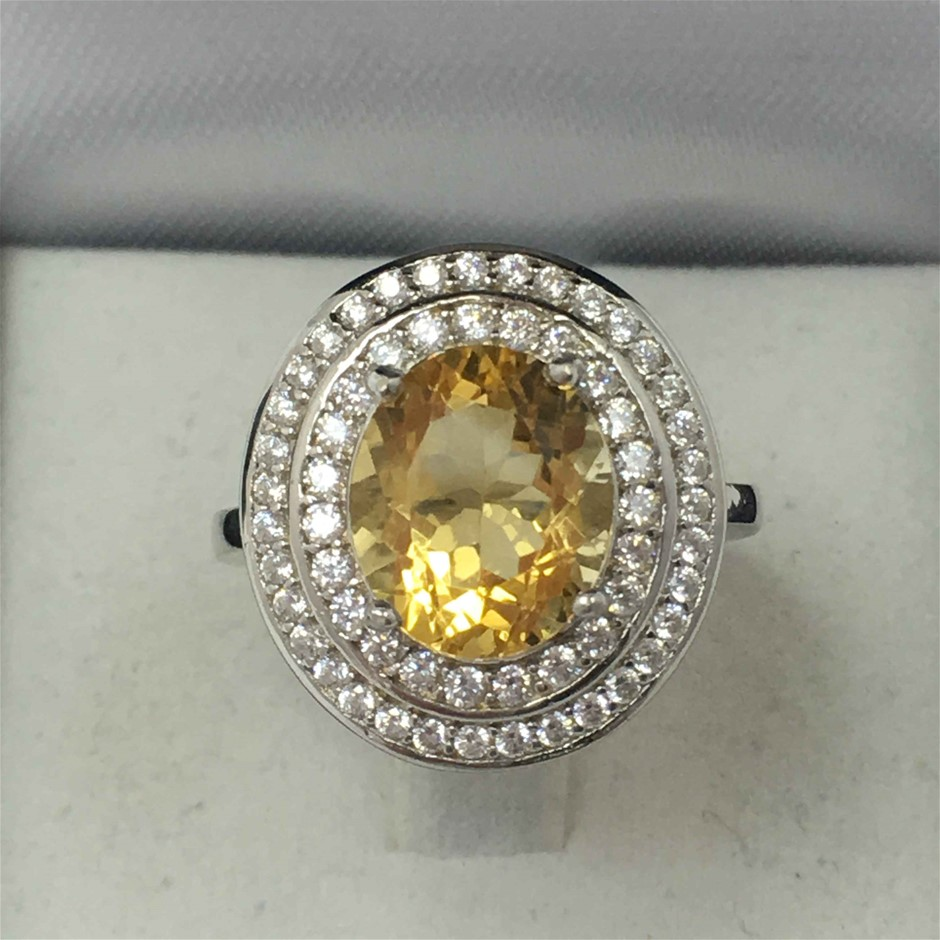 Ring Silver Citrine 3.20ct and Zircon