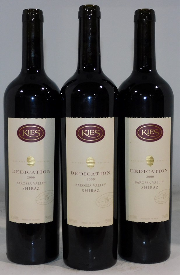 Capping Missing Kies Family Wines Dedication Shiraz 2000 (3x 750mL) SA