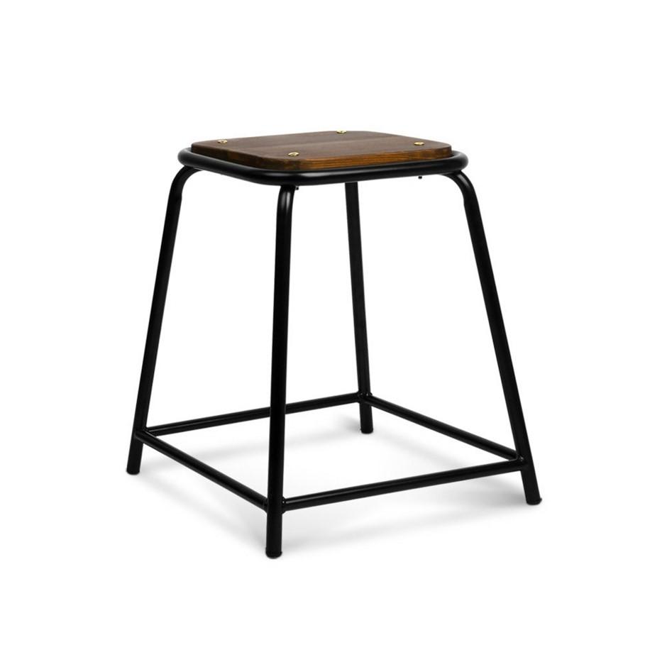 Artiss Set of 4 Pine Wood Bar Stools - Black