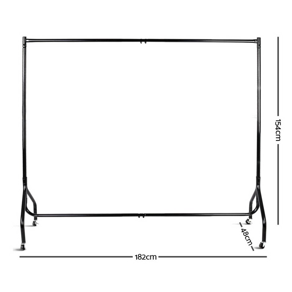 6FT Metal Garment Display Rail - Black