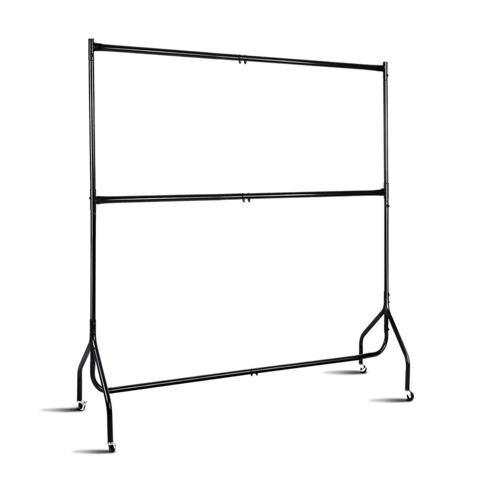 6FT Double Metal Garment Display Rail - Black