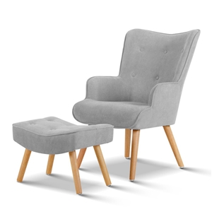Artiss Armchair and Ottoman - Light Grey