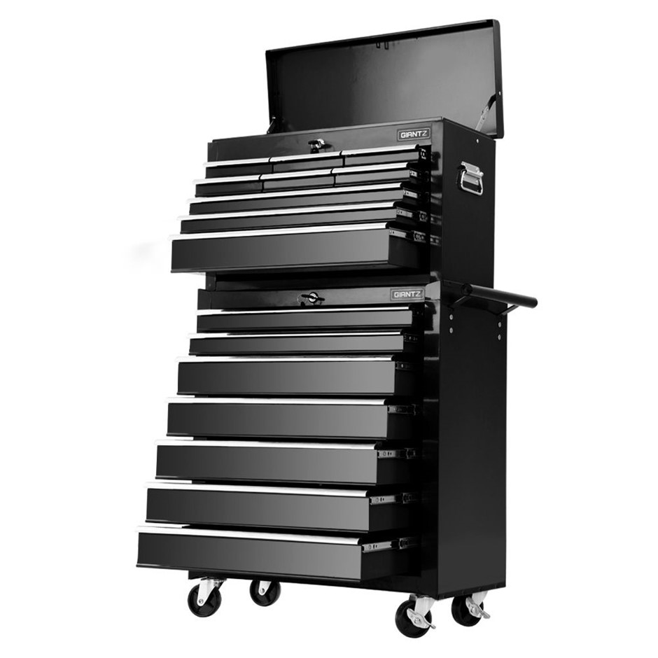Giantz Tool Chest and Trolley Box Cabinet 16 Drawers Cart Storage Black