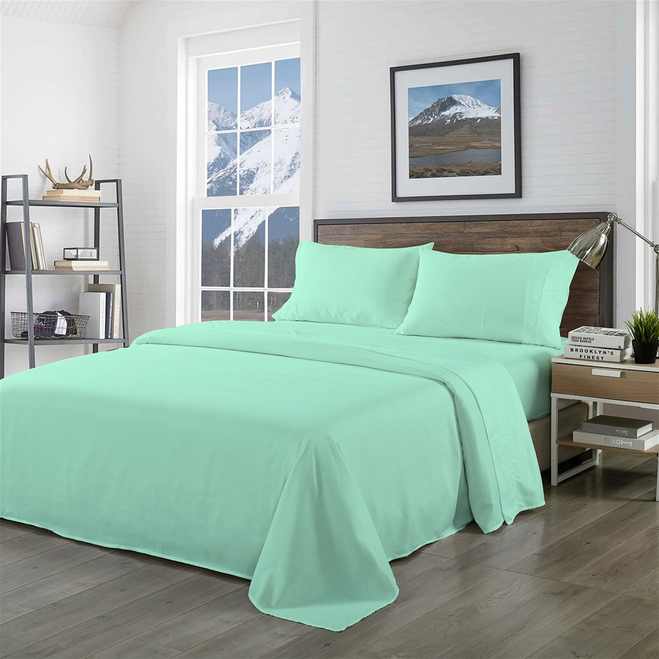Royal Comfort Bamboo Blended Sheet Set Green Mist - King