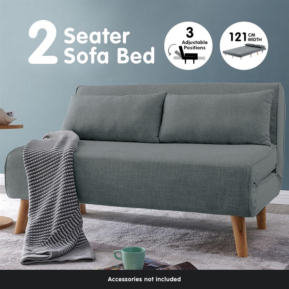 Sarantino Sofa Bed Lounge Faux Linen Fabric Dark Grey