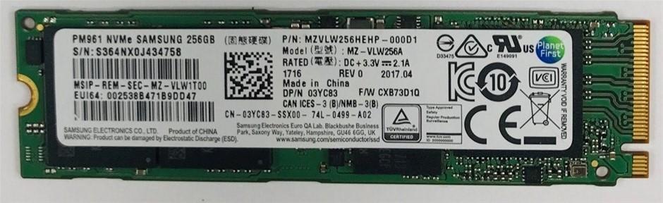 Samsung PCIe NVMe M.2 2280 256GB Solid State Drive P/N: MZVLW256HEHP-000D1