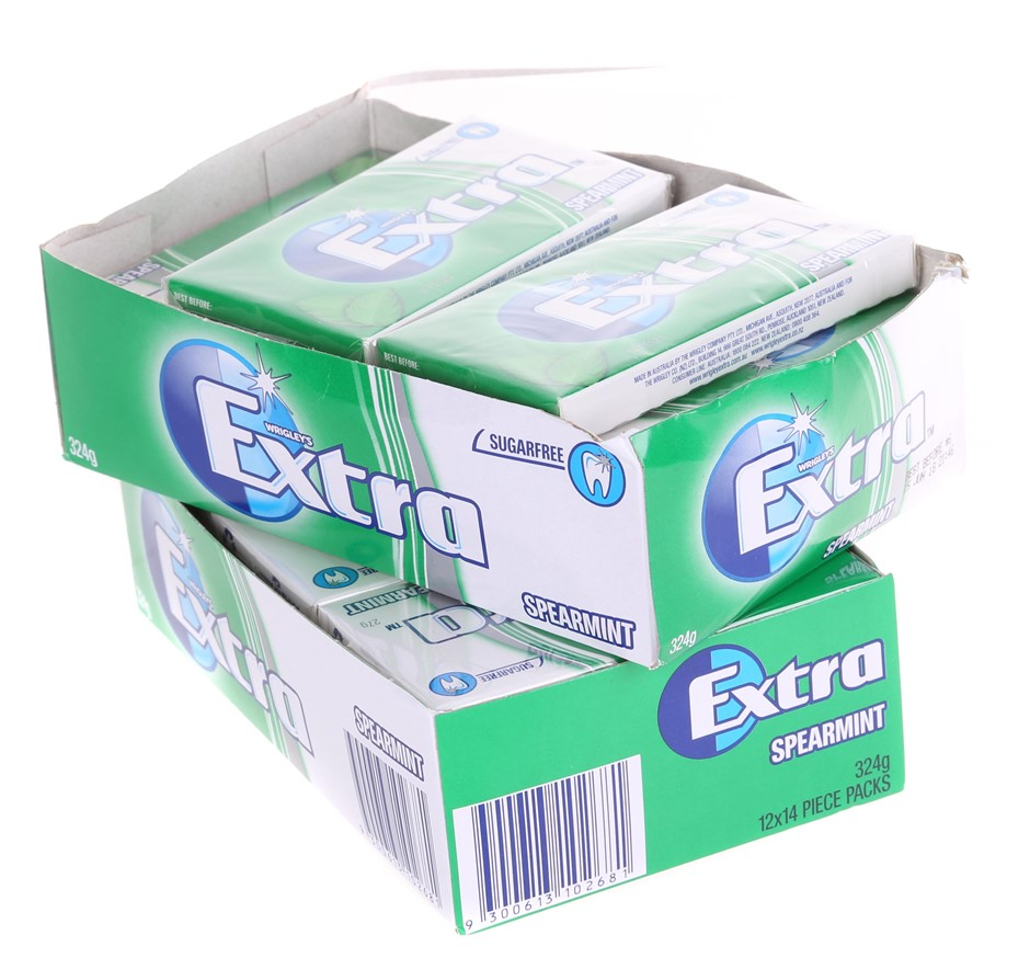 23 x WRIGLEY`S Extra 14pc Sugarfree Gum 27g, Spearmint. (SN:CC20055) (27945