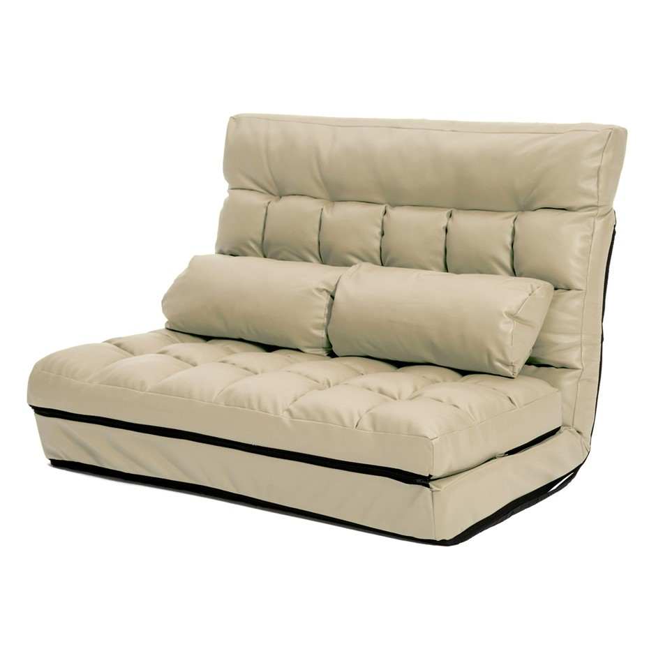 Lounge Sofa Leather Double Bed GEMINI - BEIGE