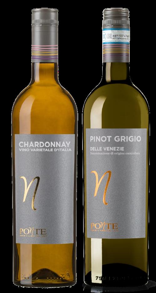 Ponte Pinot Grigio and Ponte Chardonnay mixed pack (6x 750mL). Italy
