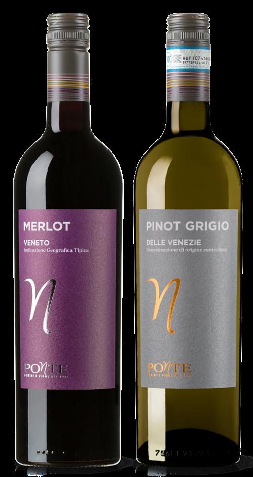 Ponte Pinot Grigio and Ponte Merlot mixed pack (6x 750mL). Italy