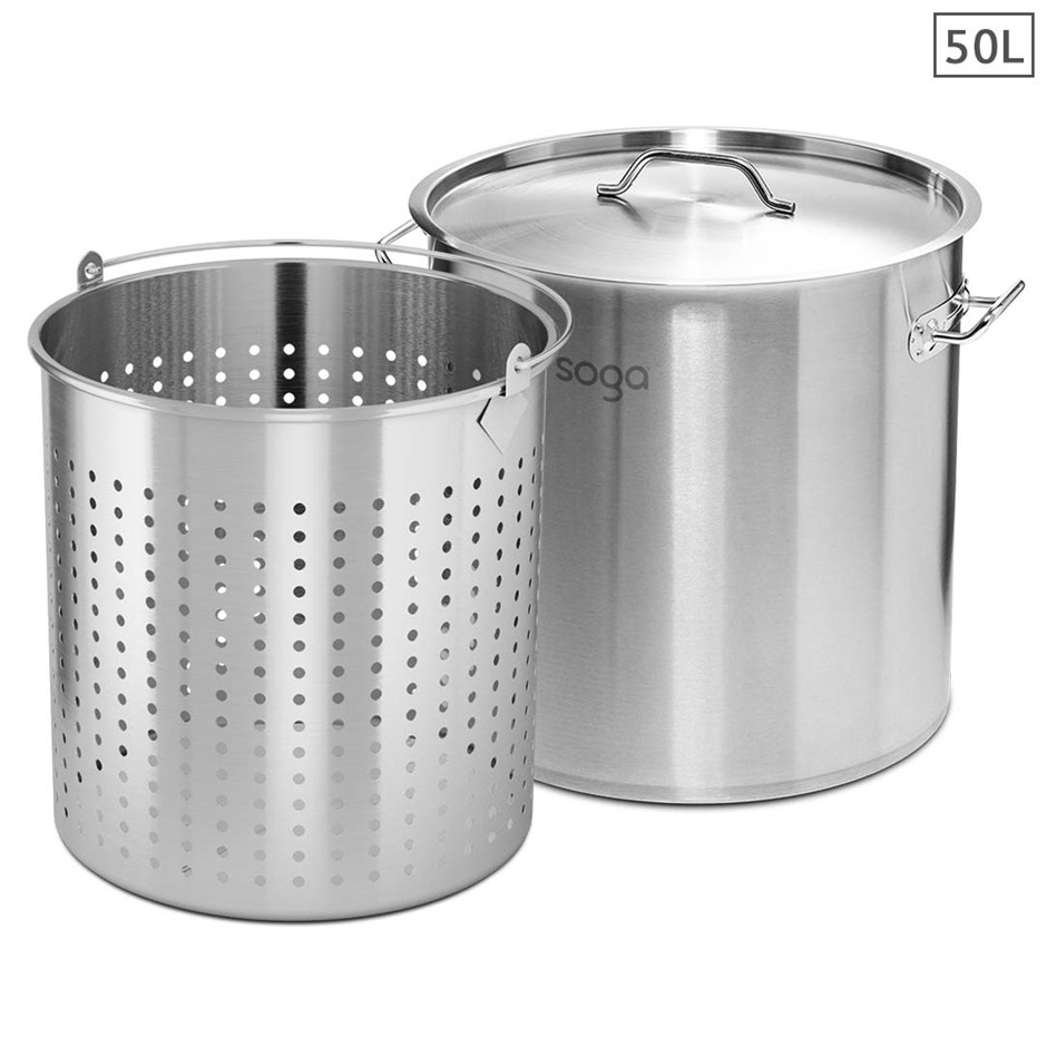 SOGA 50L 18/10 Stainless Steel Stockpot w/ Stock pot Basket Pasta Strainer
