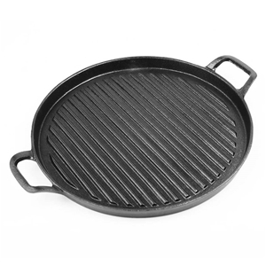 SOGA 30cm Ribbed Cast Iron Frying Pan Sk