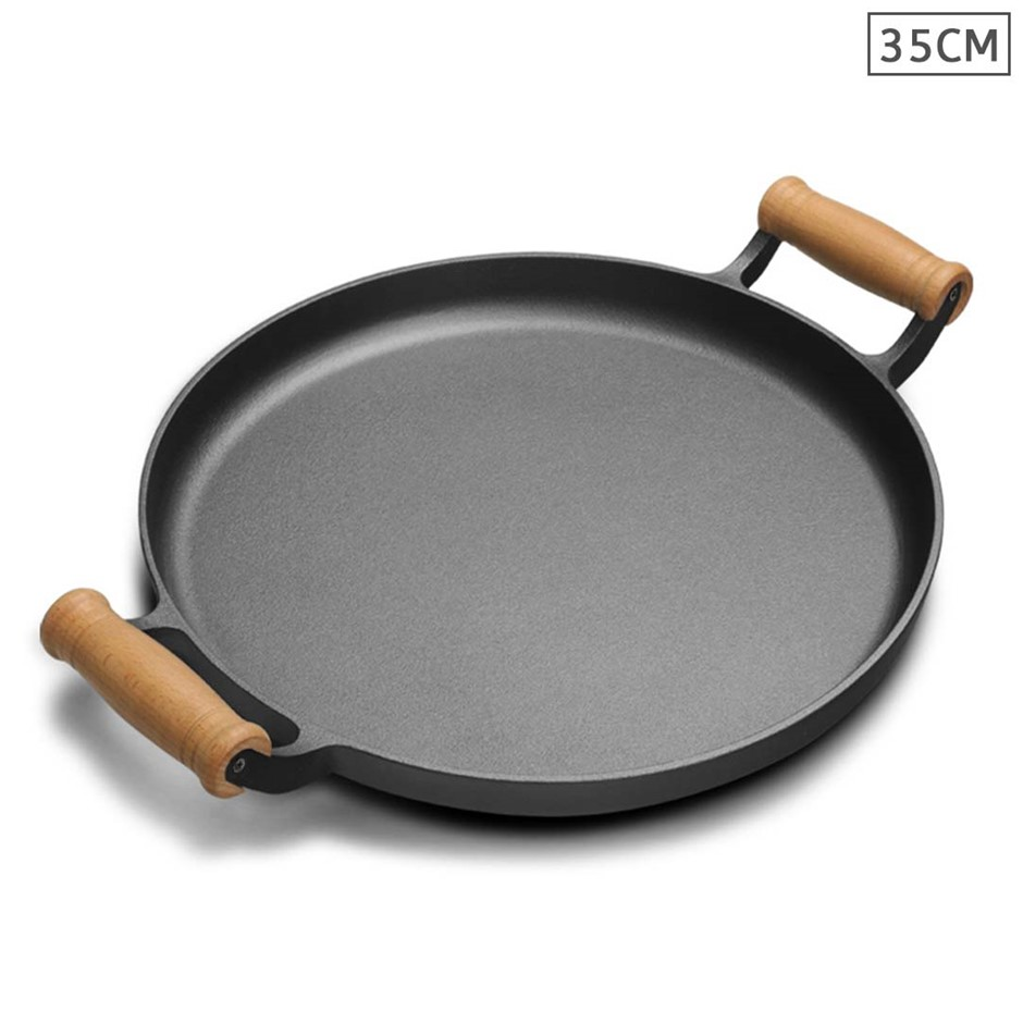 SOGA 35cm Cast Iron Pan Skillet Sizzle Fry Platter w/ Wooden Handle No Lid