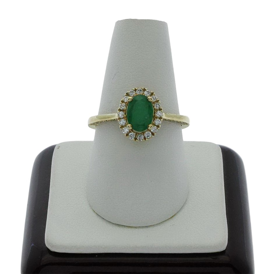 9ct Yellow Gold, 1.14ct Emerald and Diamond Ring