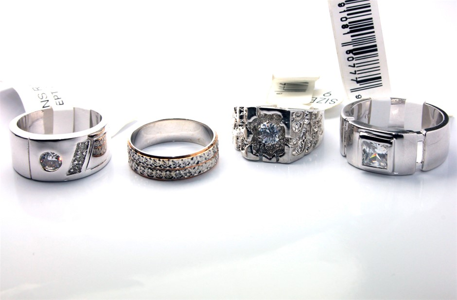 4 x Men's silver plated CZ fashion rings
