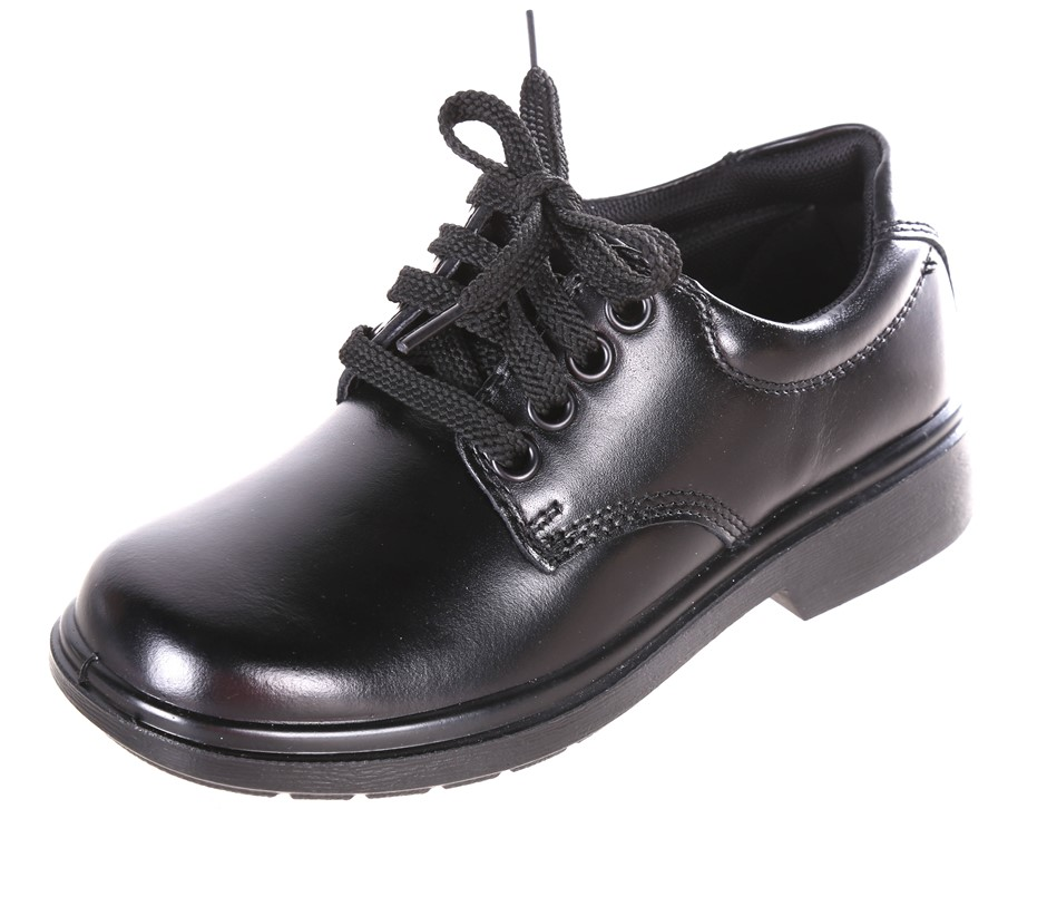CLARKS Direction Kids Leather School Shoes, Size 3 E+, Black. Buyers Note -