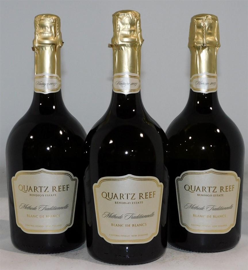 Quartz Reef Blanc De Blancs Chardonnay 2013 (3x 750mL), NZ. Cork.